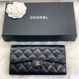 Chanel Gusset Flap Wallet black